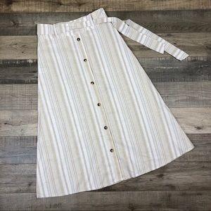 COCOA | Striped Button Down Circle Skirt Cream Mod